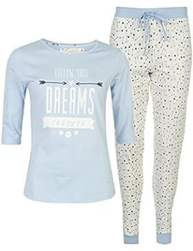 Cote De Moi Donna Pigiama Due Pezzi T Shirt Maniche A 3/4 Pantaloni In Cotone