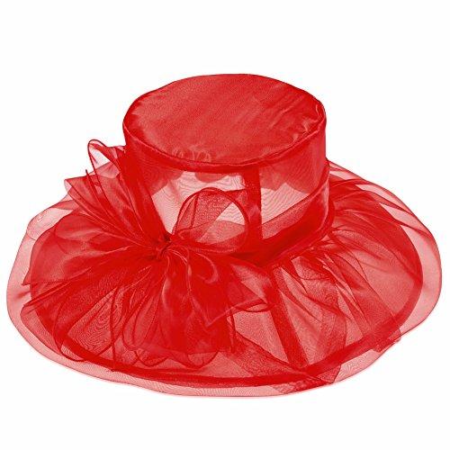 Vbiger Sonnenhut Derby Hut Strand Sonne Hut Hochzeit Kirche Gaze Brim Hut für Frauen (Rot Derby Hut)