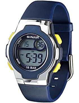 SINAR XF-60-2 Uhr Unisex Kautschuk Kunststoff 100m Digital Datum Licht Alarm Timer blau