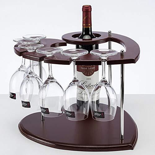 DYOYO Pinienholz Weinregal Flaschenregal für 6 Flaschen Weinhalter mit Schrauben Küche Bar Holz Whiskey Regal mit Gläserhalter Vintage Shabby braun -
