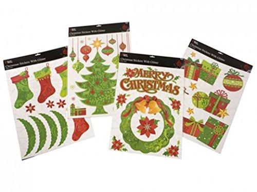 Weihnachten Weihnachten Glitter Rot Grün Farbiger Entwickelt Kinder Kids Novelty-Aufkleber -
