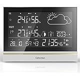Estación meteorológica,Inalámbrico Forecast Station con temperatura, humedad ,Despertador y barómetro,Termometro interior y exterior