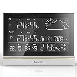 Fetanten Wetterstation Drahtlos mit Außensensor, WS004E Hygrometer Innen mit 7,5'' LCD Display für Thermometer Hygrometer Digital Innen | 3CHs Außensensoren für Heim-Hygrometer Thermometer Überwachung