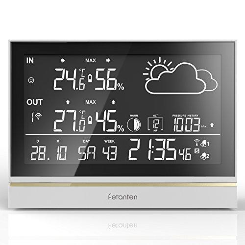 Fetanten Wetterstation Drahtlos mit Außensensor, WS004E Hygrometer Innen mit 7,5\'\' LCD Display für Thermometer Hygrometer Digital Innen | 3CHs Außensensoren für Heim-Hygrometer Thermometer Überwachung