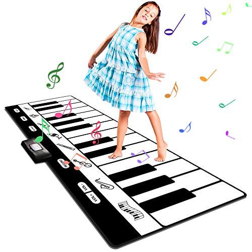 Renfox Große Musikmatte mit 8 Instrumente Sounds Tanzmatten Klaviermatte Kinder Piano Matte Aufnahme/Wiedergabe/Demo/Wiedergabe/Einstellbare Lautstärke 180 * 74 cm (Matte Sound)