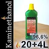 24 x1 L Flaschen Bioethanol 96,6%, Bio Alkohol 20 + 4 Liter Brennstoff für Kamin