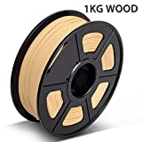 Real Wood PLA 3D Printer Filament?Wood Filament 1.75 mm,1KG(2.2LBS) Spool, Dimensional Accuracy +/- 0.02 mm,Wood Filament?Bonus with 5M PCL Nozzle Cleaning Filament