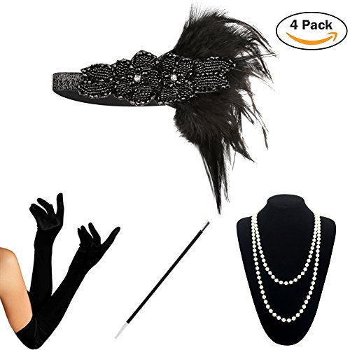 en Accessoires Set Haarschmuck Halskette Handschuhe Zigarettenhalter Stirnband 20er Jahre 1920s Charleston Gatsby Retro Stil Kostüm Ball (4PCS-D) (20's Gatsby Kostüm)