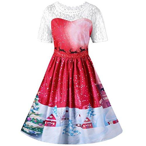 Abito-di-Natale-Donna-DoraMe-Donne-Vintage-Babbo-Natale-Abito-con-Stampa-di-Cervi-Swing-Vestito