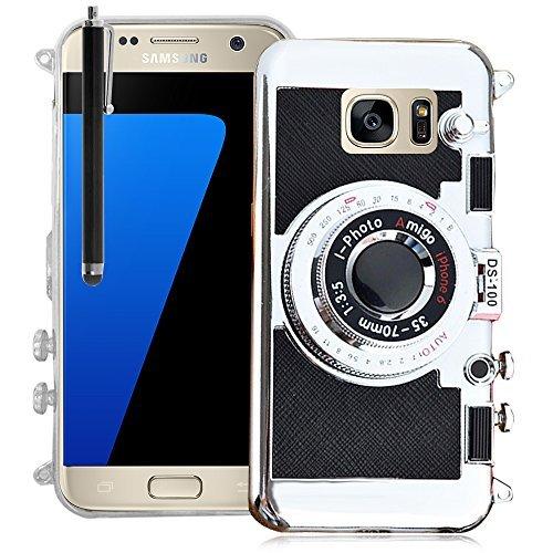 VCOMP® Camera case Coque Silicone TPU motif appreil photo élégant, support vidéo + mirroir pour Samsung Galaxy S7 G930F/ G930FD/ S7 (CDMA) G930 (non compatible Galaxy S7 Edge) + stylet - NOIR NOIR + stylet