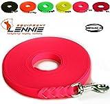 LENNIE Extra Leichte Schleppleine aus 13 mm Super Flex BioThane / 1-30 Meter [10 m] / 6 Farben [Neon-Pink] / Geflochten/Ohne Handschlaufe