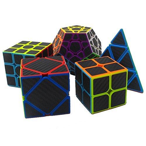 MZStech Cubo Magico Set di 5 Pack include la Meganminx + Skewb + Pyraminx + 2x2x2 + 3x3x3 Adesivo Carbon Fiber Puzzle Cubo nero