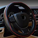 Ajudy Steering Wheel Cover - Genuine Leather, Heavy Duty, Thick, Elegant, Anti-Slip, 15 inch Middle Size (red) - Ajudy - amazon.co.uk