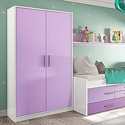 Habitdesign 0L7442BO - Armario 2 puertas juvenil, color Blanco Brillo y Llila, dimensiones 190cm (alto) x 100cm (ancho) x 50cm (profundidad)