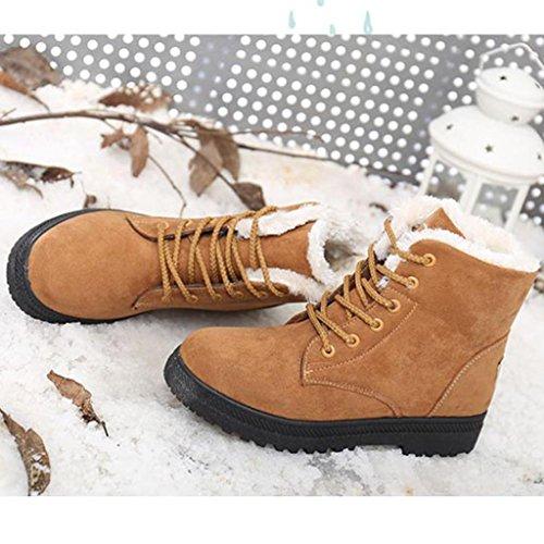 Amlaiworld Nuove Donne Classici Pattini Caldi Snow Boots Moda Stivaletti Invernali Marrone
