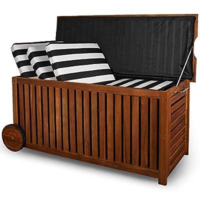Holz Auflagenbox mit Rädern 117cm - Akazienholz Kissenbox von Deuba auf Du und dein Garten