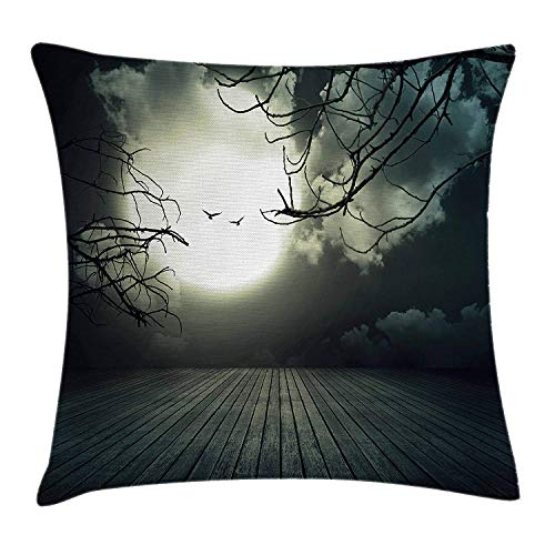 ow Pillow Cushion Cover, Wooden Planks Floor with Leafless Branches and Blurred Full Moon Mysterious, Decorative Square Accent Pillow Case, 18 X 18 inches, Black Grey White ()