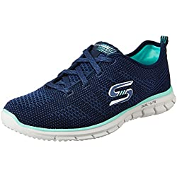 Skechers Women's Glider Navy and Green Gymnastics Shoes - 6 UK/India (39 EU) (9 US)