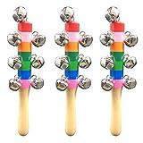 3 Stück Hand Jingle Bells Rassel Bunte Holz Glocke Regenbogen Babyrassel Spielzeug