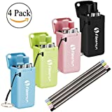 Collapsible Straw 4 Pack,Stainless Steel Reusable Drinking Folding Straws with Hard Case Cleaning Brush and Keychain Perfect for Office , Home, Travel Or Gift