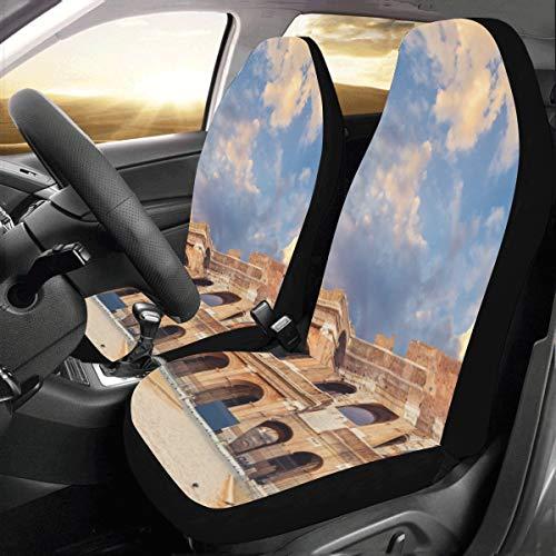Coprisedili per auto per uomo Famoso Colosseo a Roma Italia Universal Fit Coprisedili per auto per auto Protezione per camion per auto Suv Veicoli Donna Lady (2 anteriori) Coprisedili per veico