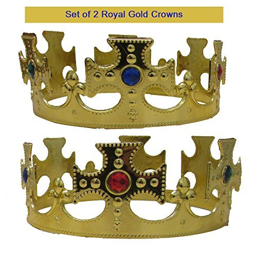 Toy Cubby Royal King Krone Satz von 2 Gold Jeweled königliche Kronen Kostümzubehör Parteibevorzugungs 2 Stück für Geburtstag BBQ Graduierung Verkleiden ()
