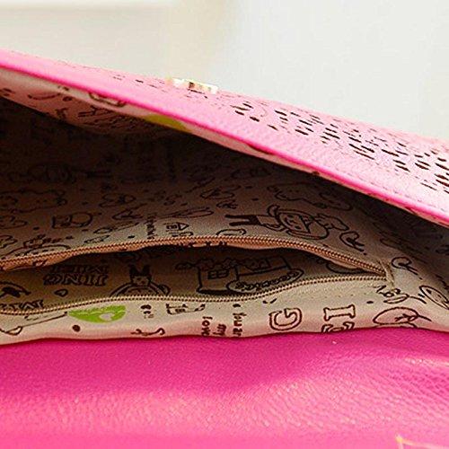 Hrph Fashion Women Cut Out Handtaschen Vintage Style aushöhlen Schultertaschen Tageskupplungen der Dame-Chain-Umschlag-Beutel Rose Red