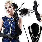 BABEYOND 1920s Flapper Set Damen Gatsby Kostüm Accessoires Set inklusive Stirnband Halskette Handschuhe Zigarettenhalter (Set-3)