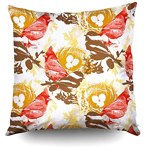 Zierkissenbezüge, Pillow Covers, Red Cardinal Chickadee Bird Nest Pillow Case 18X18Inch,Home Decoration Pillowcase Zippered Pillow Covers Cushion Cover with Words for Book Lover Worm Sofa Couch (Knie-pad Square)