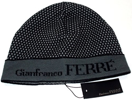 Gianfranco Ferre Cappello Risvolto Cuffia Unisex Made in Italy Nero