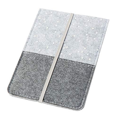 eBook Reader Hülle eReader Hülle Sleeve mit Punkten & Gummiband aus Filz grau (Farbe wählbar) | Schutz-Hülle für eReader mit 6 Zoll, Umschlag Tasche für Kindle