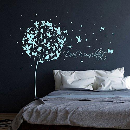 ilka parey wandtattoo-welt® Wandtattoo Wandaufkleber Wandsticker Aufkleber Sticker Pusteblume mit Elfen Feen Schmetterlingen Blumen Punkten Sternen und Wunschtext M2056 – ausgewählte Farbe: *lavendel* ausgewählte Größe: *M – 126cm breit x 120cm hoch* - 5