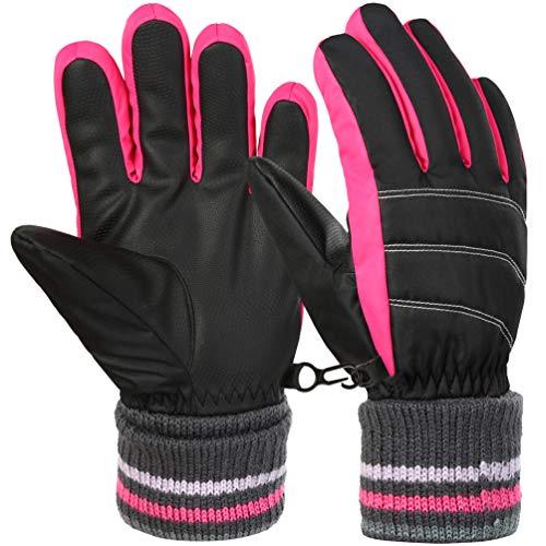 Vbiger Kinder Skihandschuhe Warme Winter Handschuhe Kalt Wetter Handschuhe Reißfeste Outdoor Sport Handschuhe mit extra langen Ärmeln Faltbare Manschette für Jungen und Mädchen, Rot, S (6-8 Jahre)