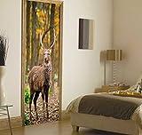 TIANTAI Nachahmung 3D Hirsch Im Wald Holztür Baumhaus Tür Aufkleber Sticker Wandaufkleber Wallpaper