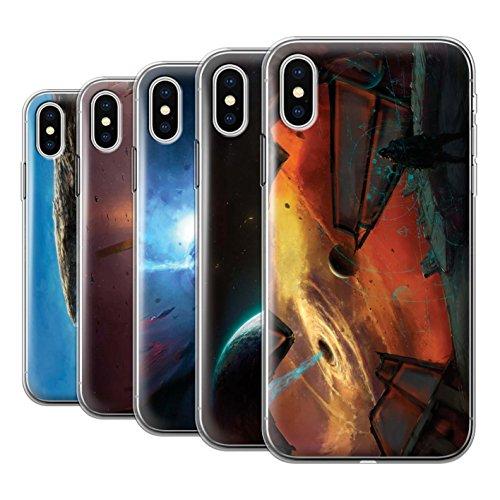 Offiziell Chris Cold Hülle / Gel TPU Case für Apple iPhone X/10 / Entfernten Stern Muster / Galaktische Welt Kollektion Pack 6pcs