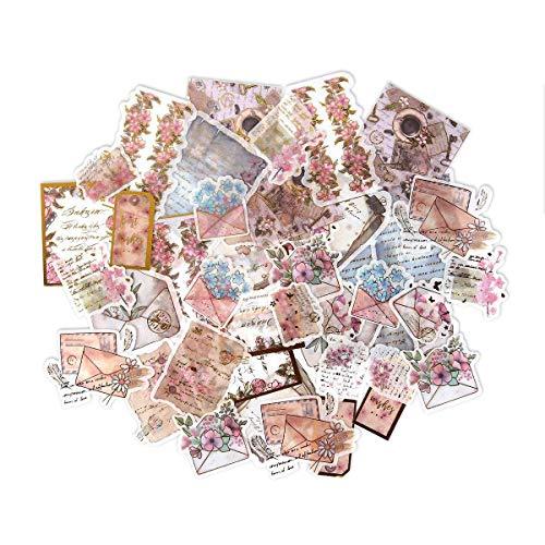 FOONEE Ephemera für Scrapbooking, 60 Stück Kirschblüten-Serie, Vintage-Ephemera-Pack, Ephemera-Karte für Notizbuch, Tagebuch, Kartenherstellung, Briefe 8# -