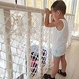 HQPCAHL Sicherheitsnetz für Kinder Kindersicherheitsnetz Stabiles und verstellbares Balkon- / Treppengeländer Sicherheitsnetz für Innen- und Außentreppen Balkon oder Patios-Weiß,Weiß,200 * 80cm