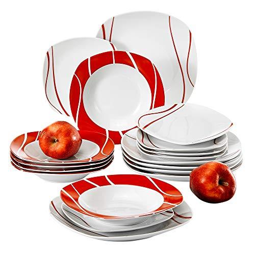 MALACASA, Série Felisa, 18pcs Service de Table Porcelaine, 6 Assiettes Creuse, 6 Assiettes à Dessert, 6 Assiettes Plates pour 6 Personnes