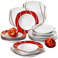 MALACASA, Série Felisa, 18pcs Services de Table Porcelaine, 6 Assiettes Creuse, 6 Assiettes à Dessert, 6 Assiettes Plates pour 6 Personnes