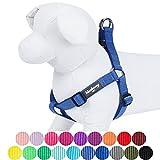 Blueberry Pet Step-in Geschirre Klassisch Einfarbig Hundegeschirr mit Zugentlastung Verstellbar Langlebig - Marina Blau Nylon 51-66cm Brust, Passender Hundehalsband & Hundeleinen erhältlich Separate
