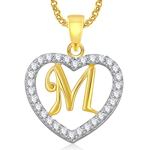 Meenaz Gold Plated 'M' Alphabet With Chain In American Diamond Cz Pendant For Women And Men Ps406