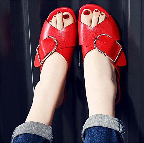 Sommer Sandalen Frauen in runder Gürtelschnalle Schuhen mit dicken mit weiblichen Sandalen und Pantoffeln Red