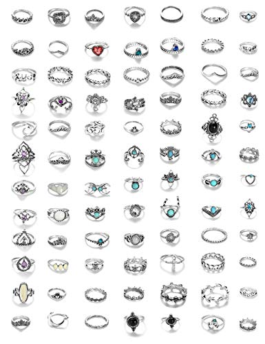 Milacolato 84 Stücke Midi Ring Böhmischen Knuckle Ring Sets Mode Finger Vintage Silber Stapelbar Ringe für Frauen Mädchen Knuckle Midi Ringe