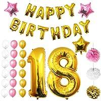 Globos Cumpleaños Happy Birthday #18, Suministros y Decoración por Belle Vous - Set 26 Piezas - Globo Grande Aluminio de 30,5cm 18 Años - Globos De Látex Dorado, Blanco y Rosa - Apto para Adultos
