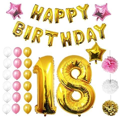 Ballons Happy Birthday 18ème Anniversaire, Fournitures & Décorations par Belle Vous - Set tout-en-un - Gros Ballon Aluminium 18 Ans - Ballon de Décoration en Latex Or, Blanc & Rose - Décor Adapté pour les Adolescents