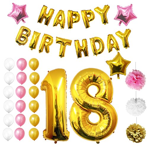 Birthday Party Luftballons u. Dekorationen von Belle Vous - 26-tlg. Set - Folienballons zum 18. Geburtstag - 30,5cm Gold, Weiße u. Rosa Dekorative Latex-Ballons - Für Erwachsene (18 Geburtstag Zubehör)