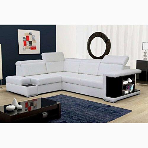 Justhome rosso divano angolare divano letto finta pelle (lxp): 285x220 cm bianco penisola a sinistra