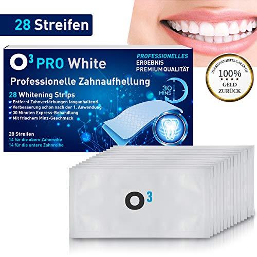 O³ Zahnaufhellung Strips // 28 White Stripes // Teeth Whitening Streifen - Zähne weisser machen // Bleaching set - Bleichen // Zahnpflege Zahnweiß weiße Zähne (Täglich Whitening Strips)