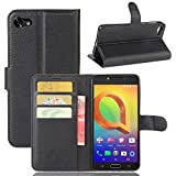 Tasche für Alcatel A5 Led (5.2 zoll) Hülle, Ycloud PU Ledertasche Flip Cover Wallet Case Handyhülle mit Stand Function Credit Card Slots Bookstyle Purse Design schwarz