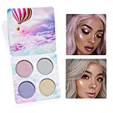 Northern Lights Face Glow Palette Shimmer Powder Highlight Concealer Cosmetics Contour Kit - Contorno in polvere, Glitter Eyes Lip Makeup Highlighter Palette, 4 Colors 0.3 Oncia (#2)